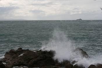 Wellen und Felsen vor Tauranga