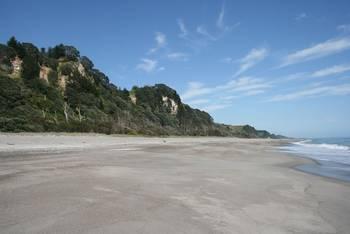 Ein ruhiger Strandabschnitt während der Fahrt von Tauranga nach Gisborne