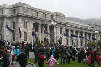 Empfang der »All Blacks« in Wellington nach der gewonnenen Meisterschaft.
